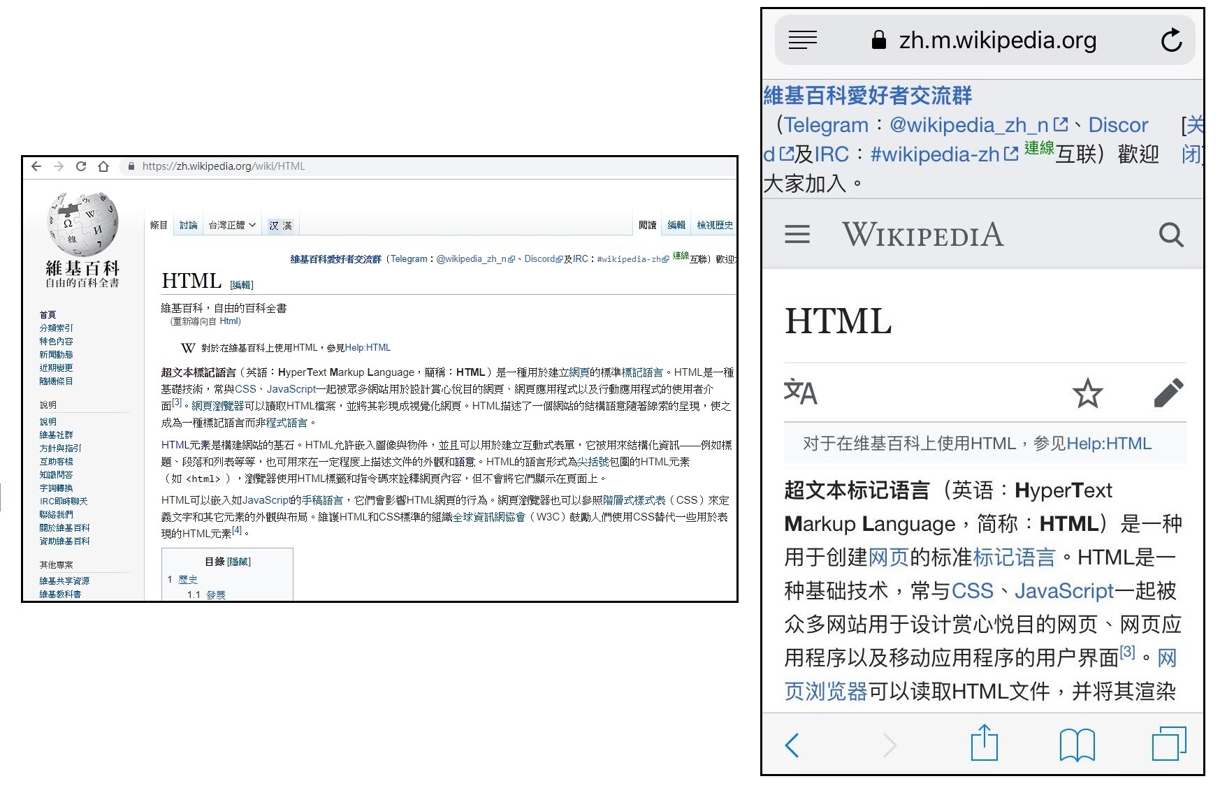 Desktop site與mobile site兼備的網站