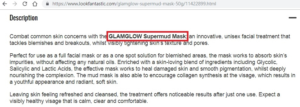 Lookfantastic對GLAMGLOW SUPERMUD Mask的描述
